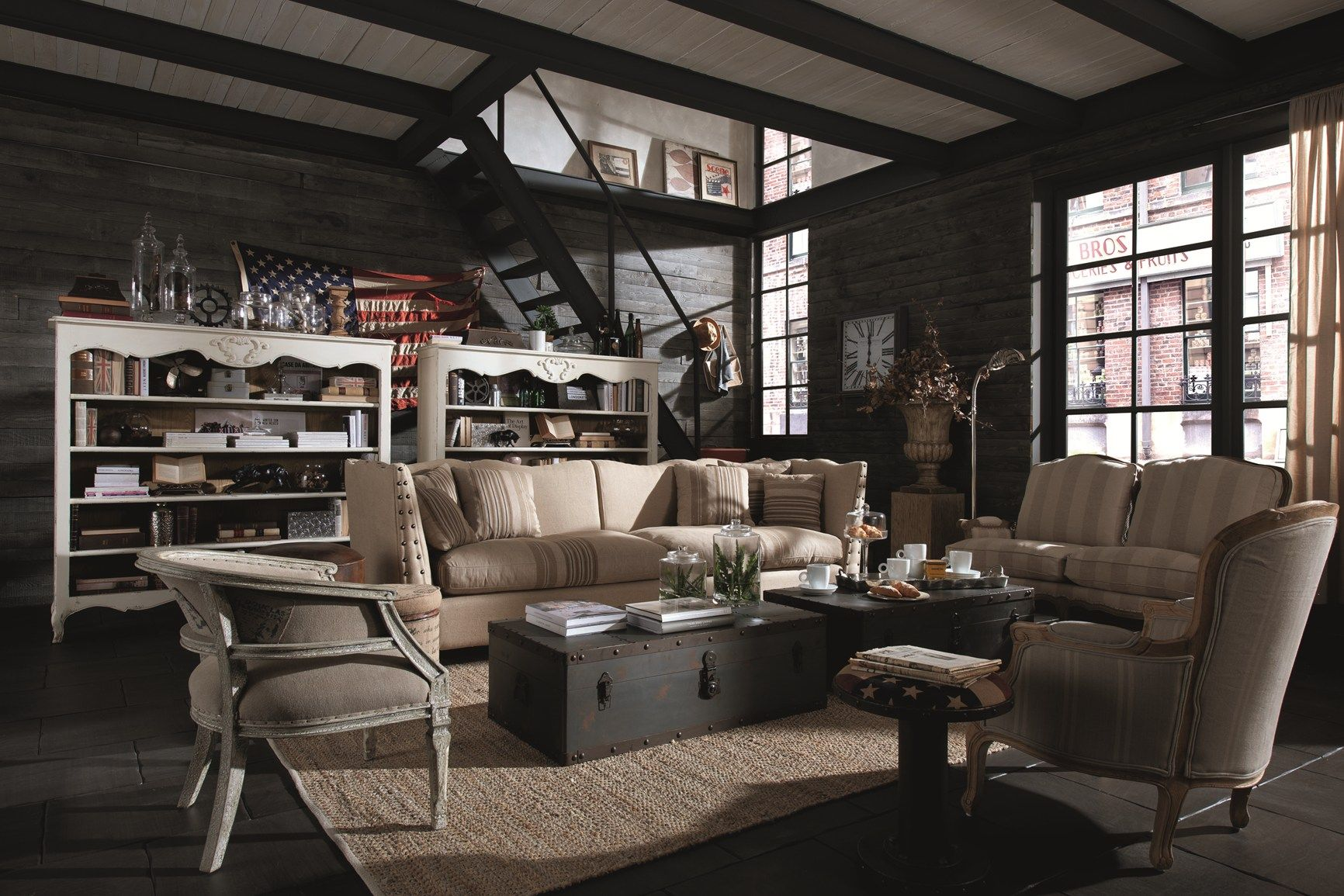 Shabby chic vintage industrial style for Dialma brown