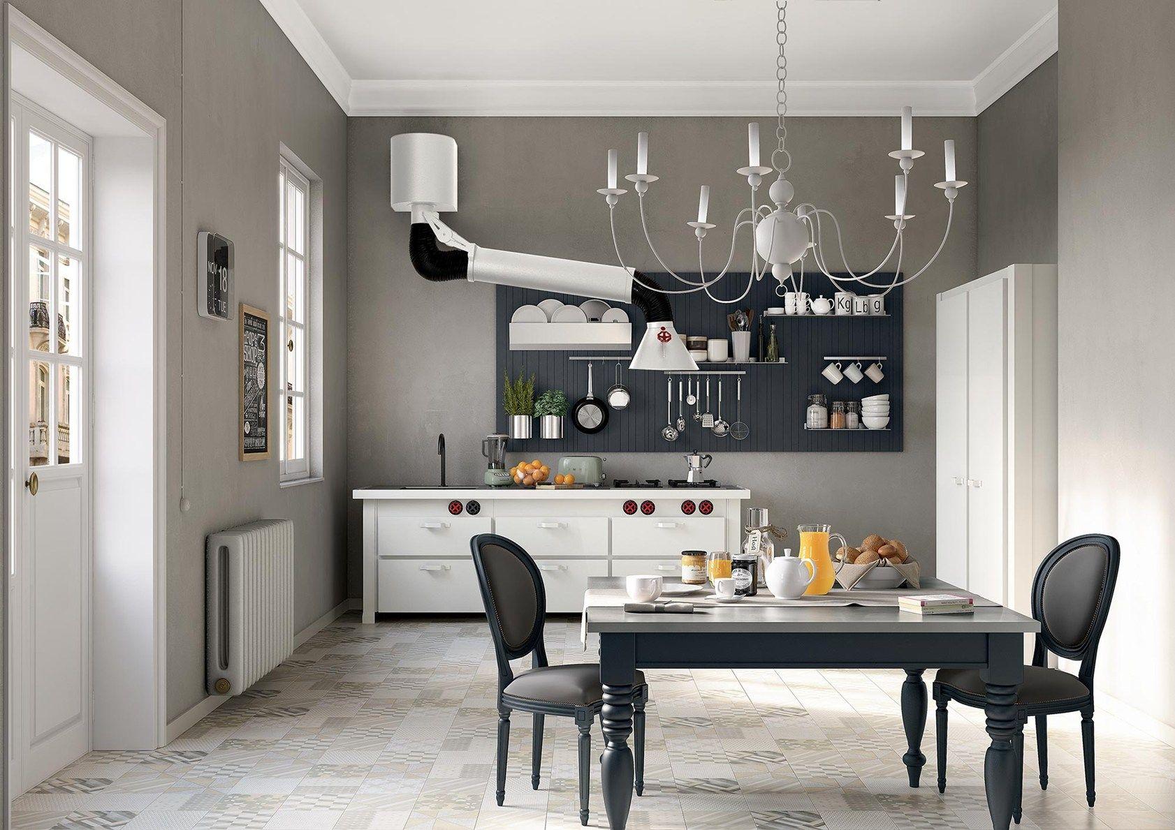 Legno total white, metallo grigio e nero