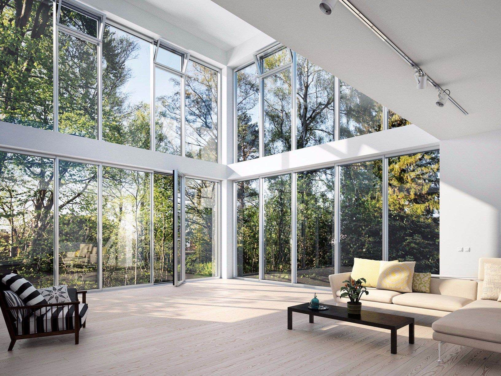 Facciate in alluminio a nastro con apribili a scomparsa - Altezza minima finestre ...