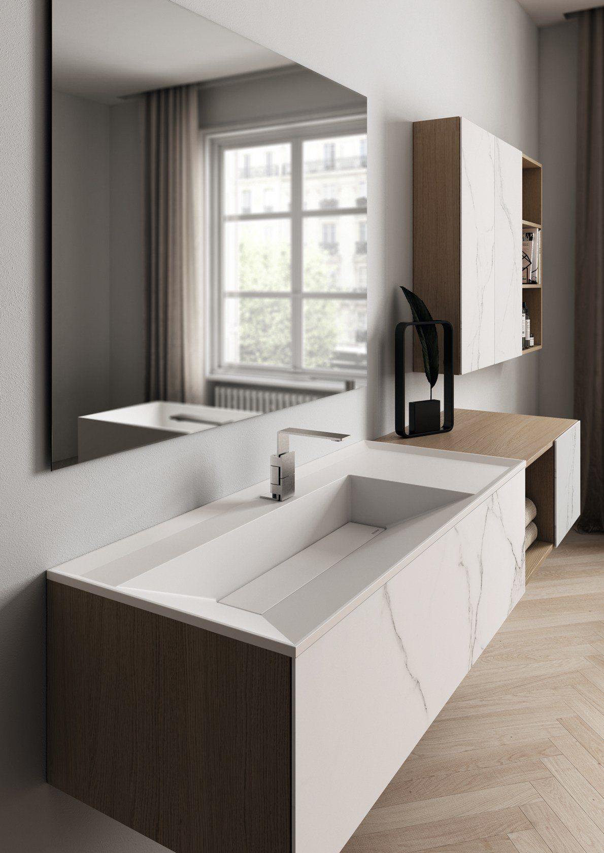 Bagno minimal d 39 ispirazione industriale - Arredo bagno marmo ...