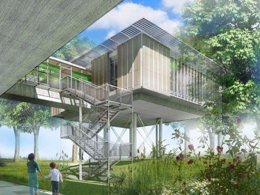 L 39 hospice pediatrico di rpbw una casa sull 39 albero for Progettazione esterni casa