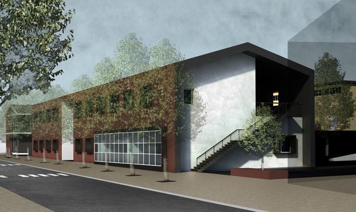 Vista esterna della scuola di Caldarola (Mc) - progetto Iuav Venezia
