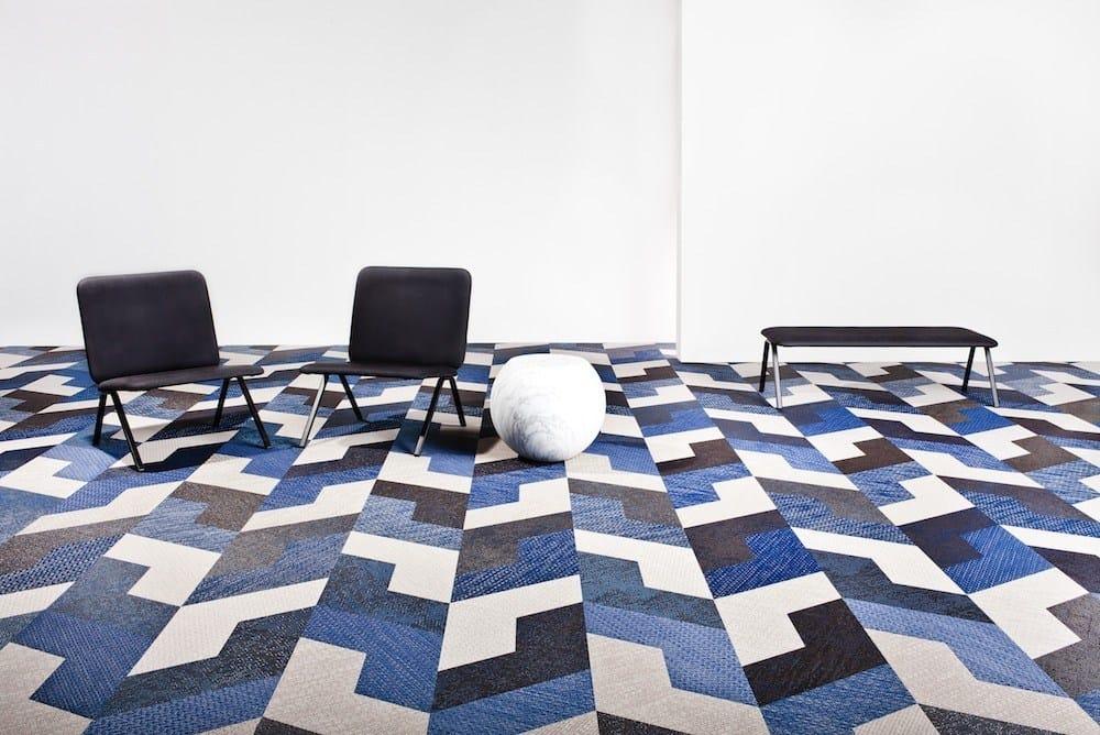 Teppichboden verlegen geometrische Muster Ideen orange braun