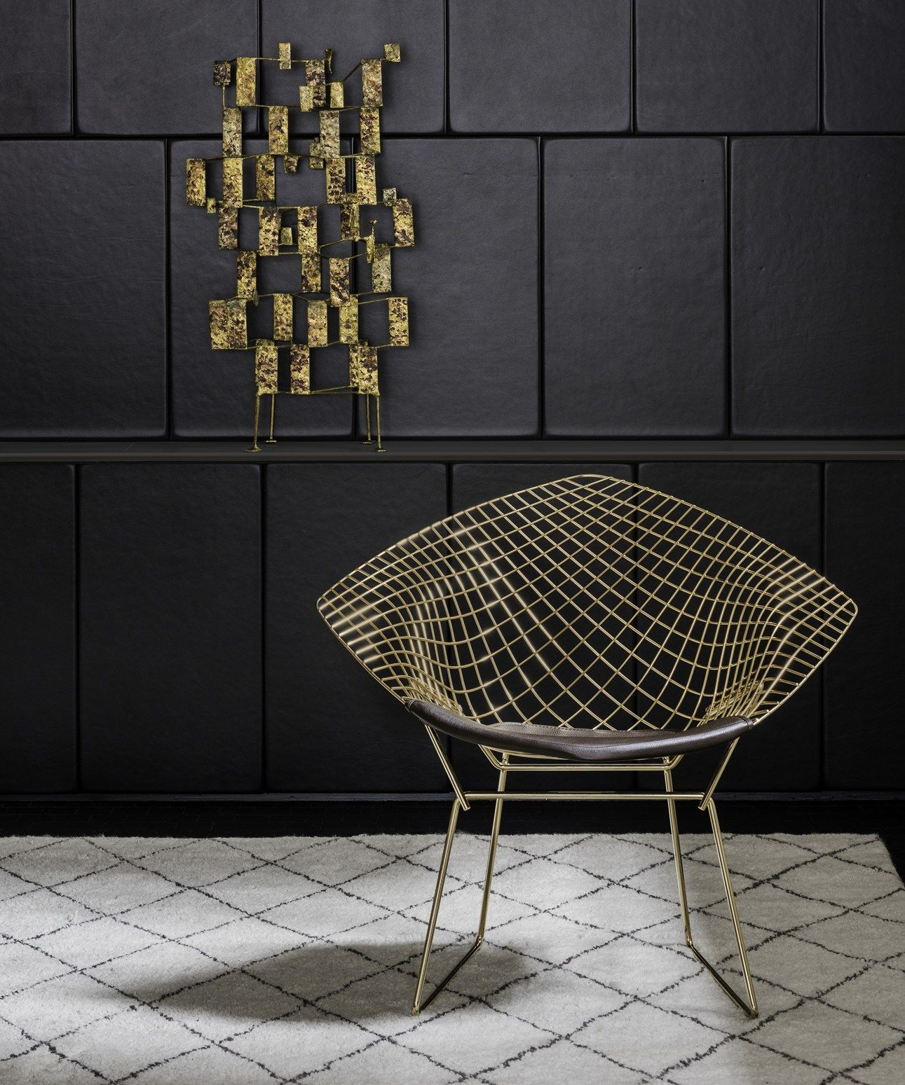 Bertoia diamond chair vintage - Warren Platner Furniture The Iconic Bertoia Diamond And Platner Chairs In Precious Gold Finish Warren