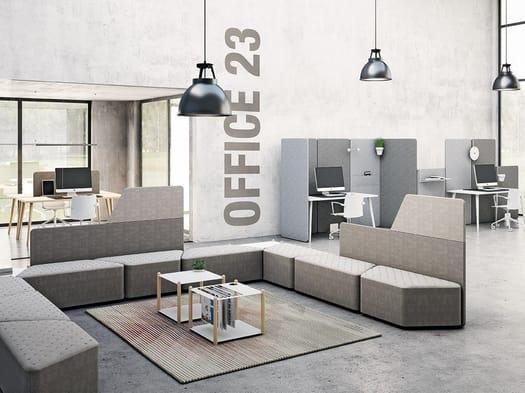 Pannelli fonoassorbenti, moduli soft seating, tavolini e accessori