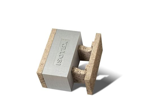 ISOTEX presents wood-cement formwork block HDIII 44/20 with eps-graphite BASF