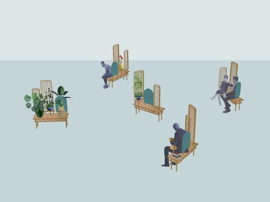 Bench becomes a room divider