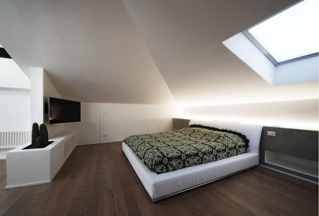 La camera da letto in mansarda