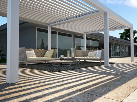 Opera and vision a new bioclimatic pergola by pratic for Pergola bioclimatica pratic