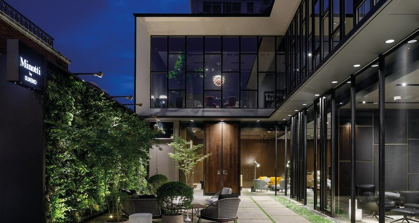 Metal, concrete, glass and vertical garden