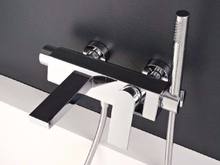 Wall-mounted steel bathtub mixer with hand shower 100 | Bathtub mixer by ZAZZERI