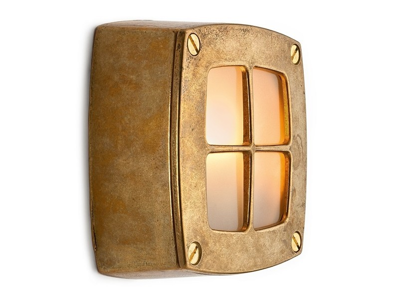 Brass wall lamp 100628 | Wall light brass with lattice - THPG