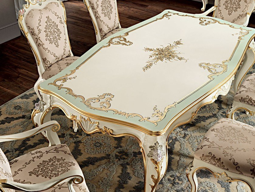 One piece inlaid table silver leaf dining room furnishings - Villa Venezia Collection - Modenese Gastone