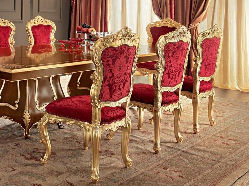 Velvet seat gold leaf carves luxury classic chair - Villa Venezia Collection - Modenese Gastone