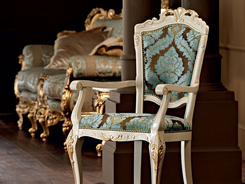 Embroidered fabric upholstered dining room chair - Villa Venezia Collection - Modenese Gastone