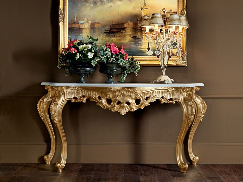 Hardwood handmade Italian open worked console - Villa Venezia Collection - Modenese Gastone