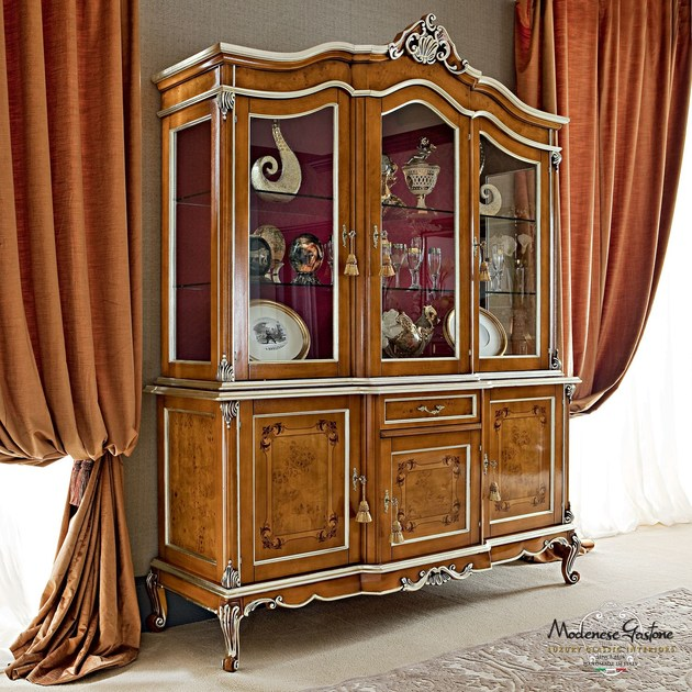 Solid wood handmade display cabinet with inlays and carves - Casanova Collection - Modenese Gastone
