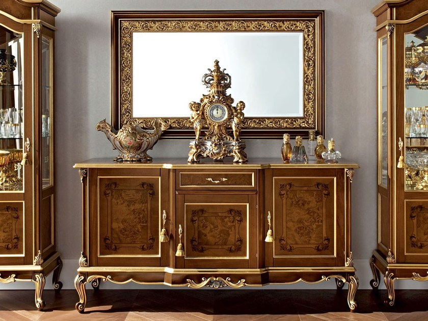 Walnut furniture with inlaid briar root panel and carves - Casanova Collection - Modenese Gastone