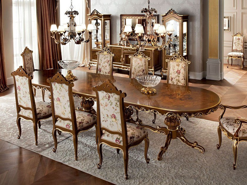 Dining room furnishing ideas inlaid one piece table - Casanova Collection - Modenese Gastone
