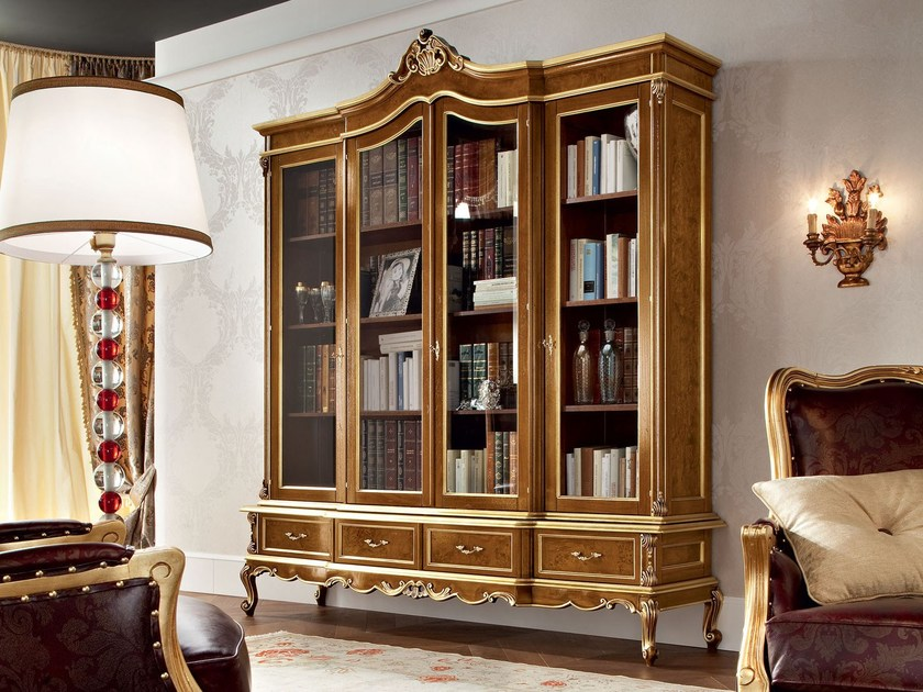 Classic hardwood bookcase with carves and inlays - Casanova Collection - Modenese Gastone