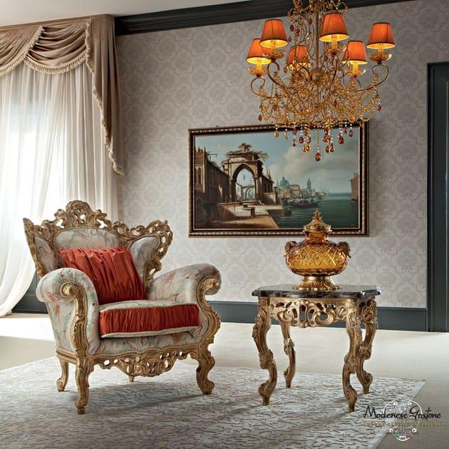 Poltrona imbottita in legno con braccioli 12410 poltrona for Italy design mobel