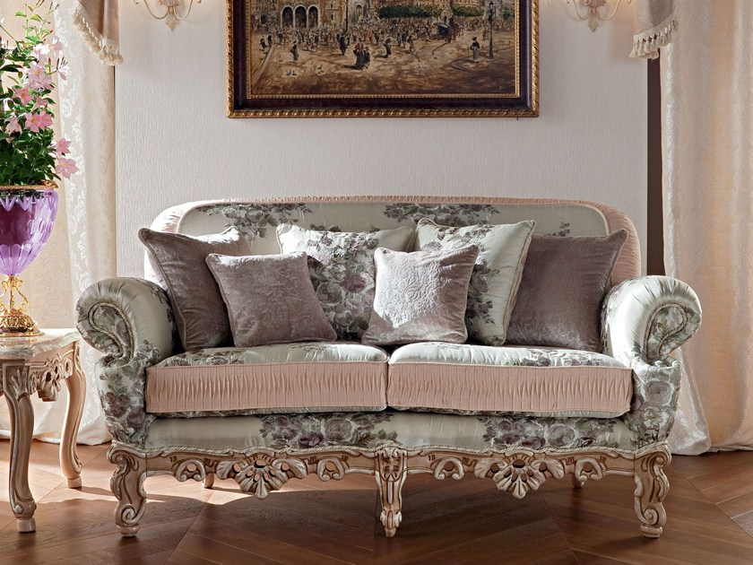 Sofa with embroidered fabric handmade in Italy - Casanova Collection - Modenese Gastone