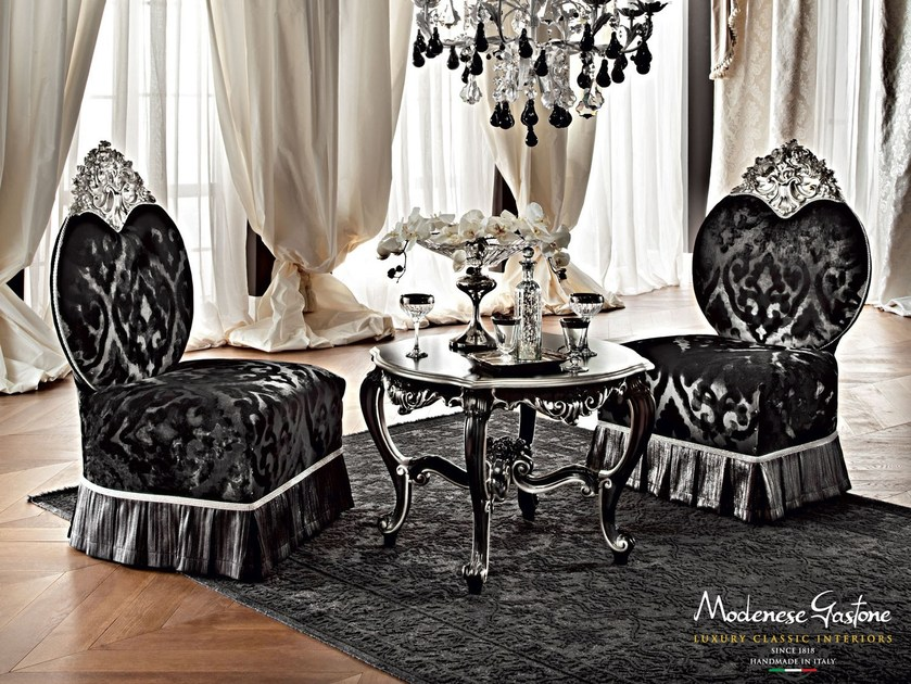 Coffee tea set with armchair silver leaf velvet - Casanova Collection - Modenese Gastone