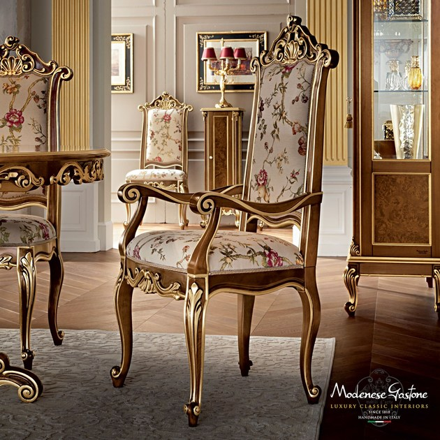 Luxury tailormade furniture padded chair with armrests - Casanova Collection - Modenese Gastone