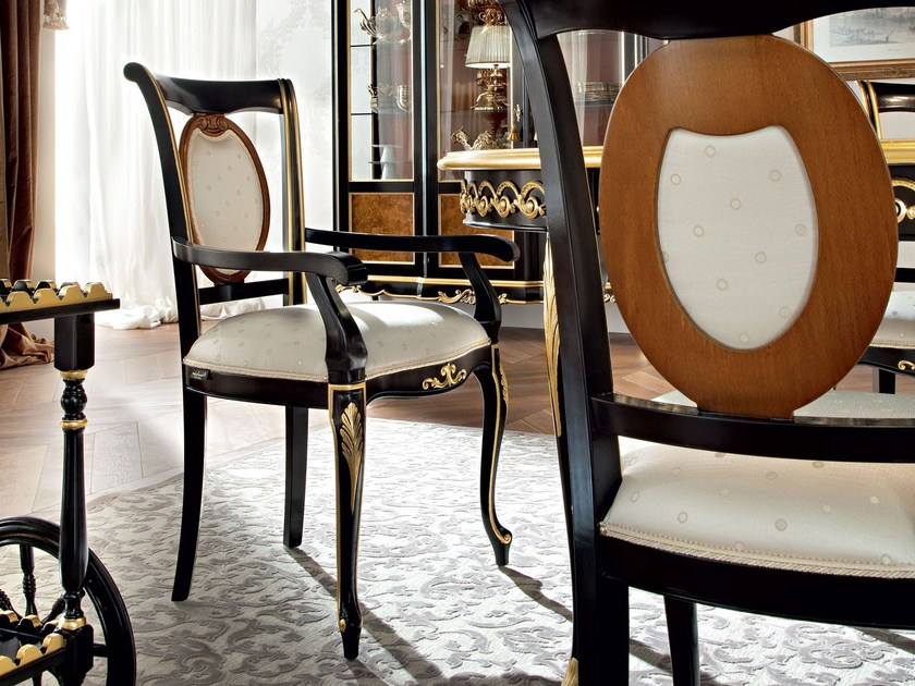 Dining solid wood upholstered chair with geometric pattern - Casanova Collection - Modenese Gastone