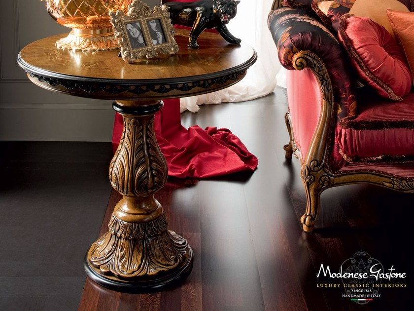 Carved and inlaid round classic coffee table - Casanova Collection - Modenese Gastone