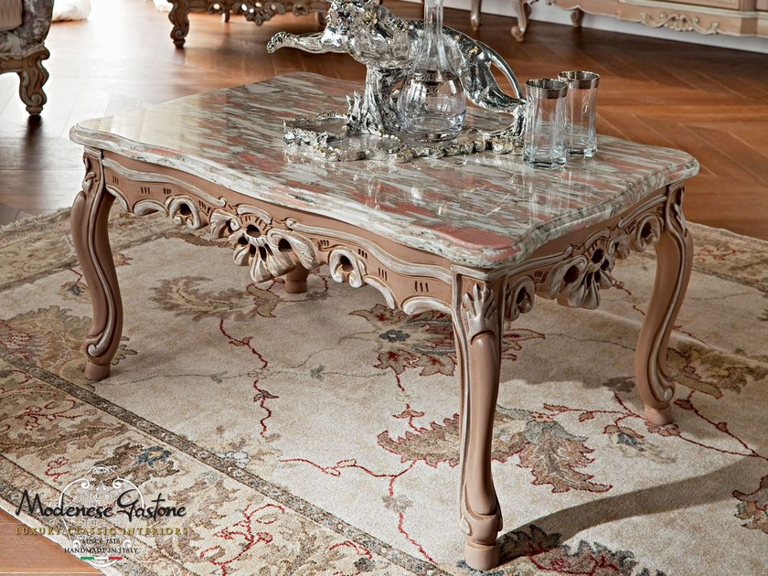 Handmade carved coffee table with marble top - Casanova Collection - Modenese Gastone