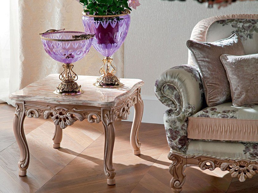 Luxury carved coffee table with marble top - Casanova Collection - Modenese Gastone