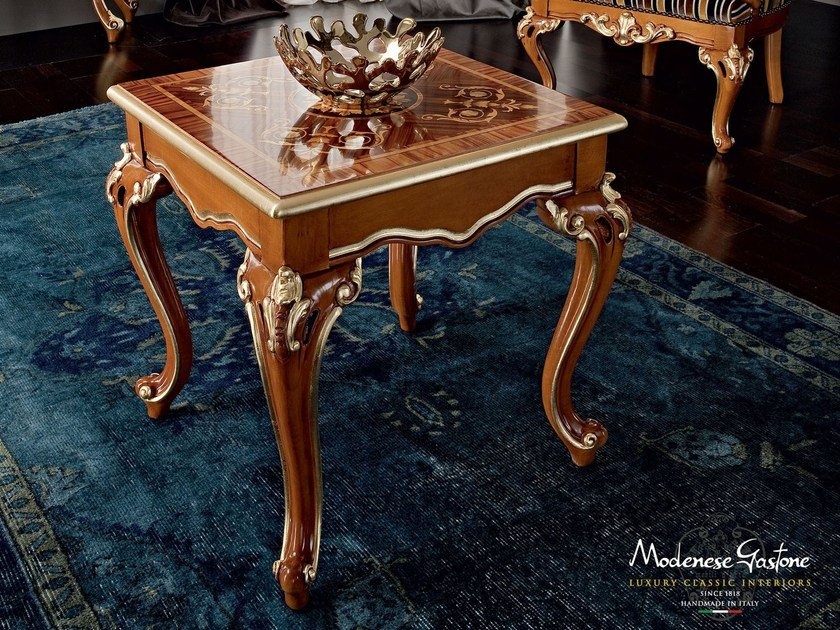 Coffee table with inlays carves handmade with walnut - Casanova Collection - Modenese Gastone