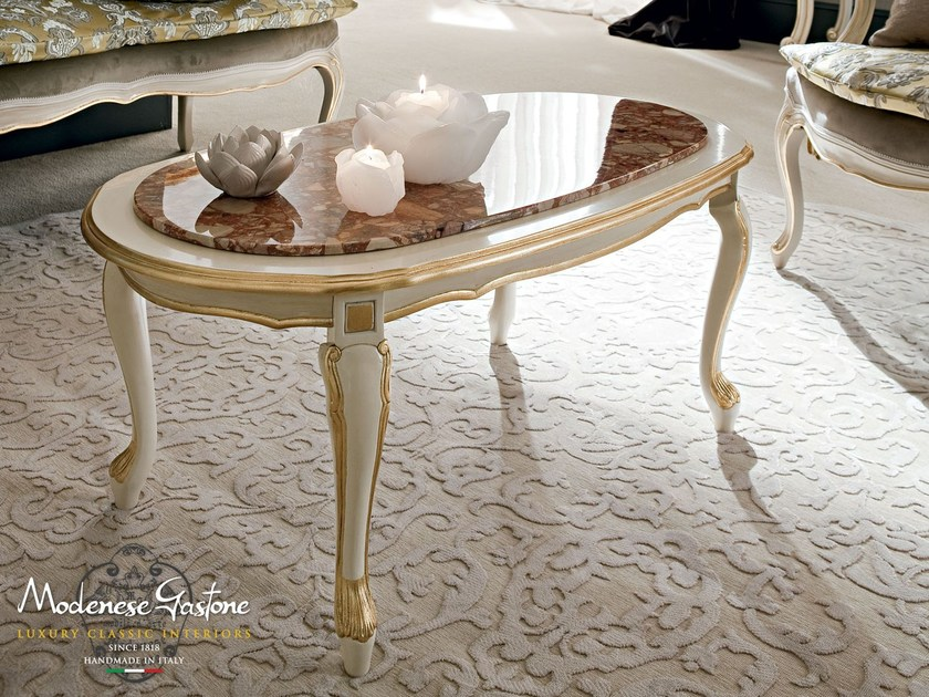 Oval coffee table with marble top luxury design - Casanova Collection - Modenese Gastone