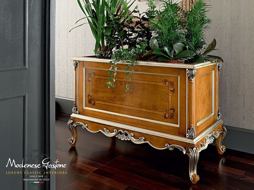Hardwood classic flower box with silver leaf applications - Casanova Collection - Modenese Gastone