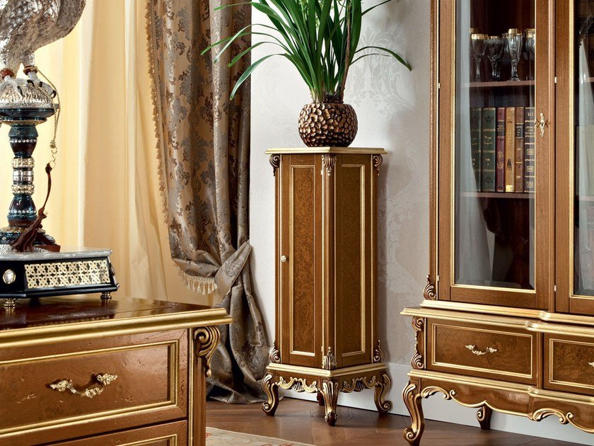 Vase stand with briar root walnut and luxury carves - Casanova Collection - Modenese Gastone