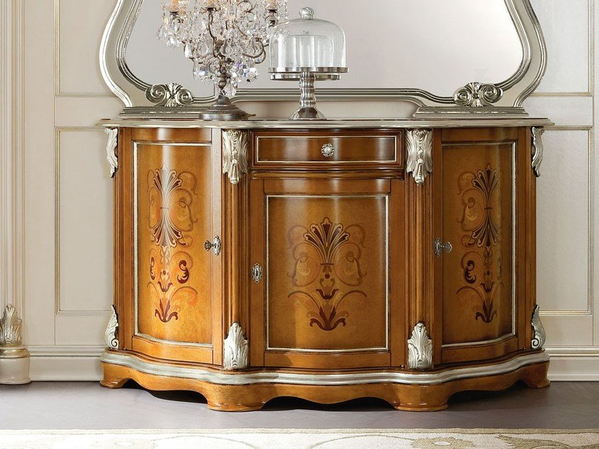 Inlaid hardwood mirror and sideboard - Bella Vita Collection - Modenese Gastone