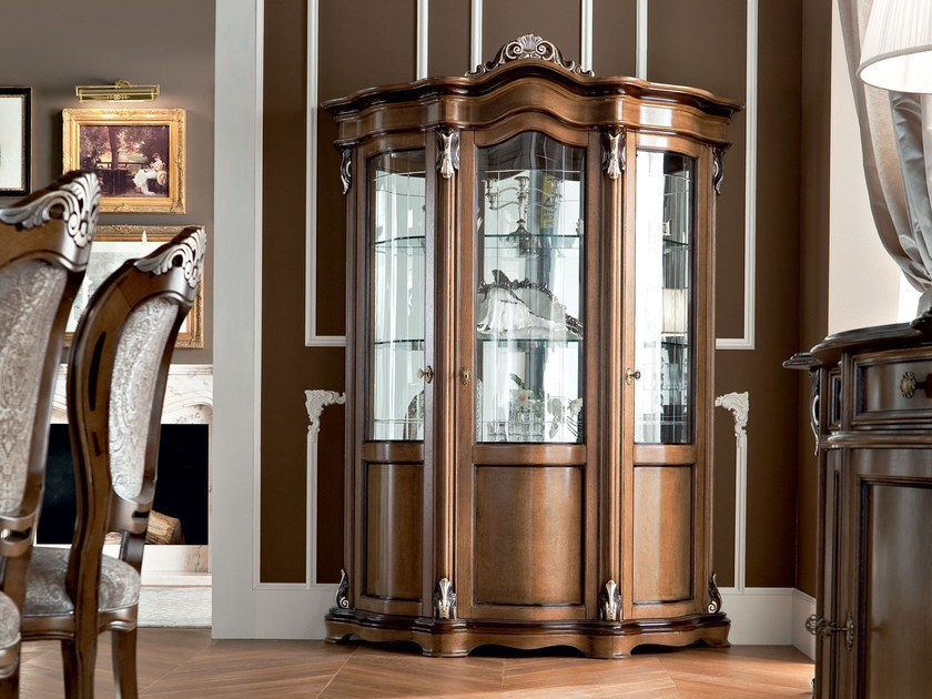 Walnut luxury hardwood glass cabinet - Bella Vita Collection - Modenese Gastone
