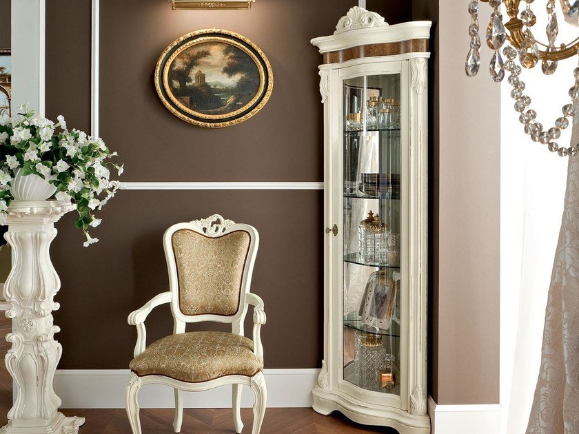Corner unit luxury walnut and chair with armrests - Bella Vita Collection - Modenese Gastone