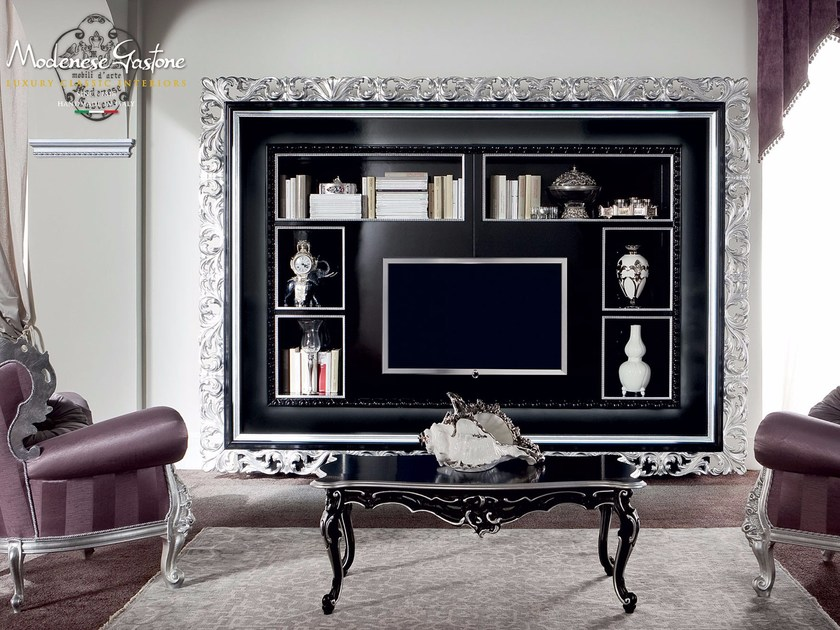 13129 bookcase by modenese gastone group for Cornice porta tv