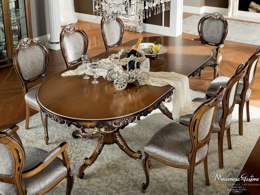 Luxury classical extendable dining hardwood table - Bella Vita Collection - Modenese Gastone