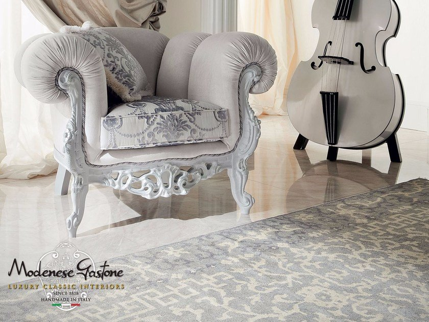 Padded armchair with coffee table and pouf - Bella Vita Collection - Modenese Gastone
