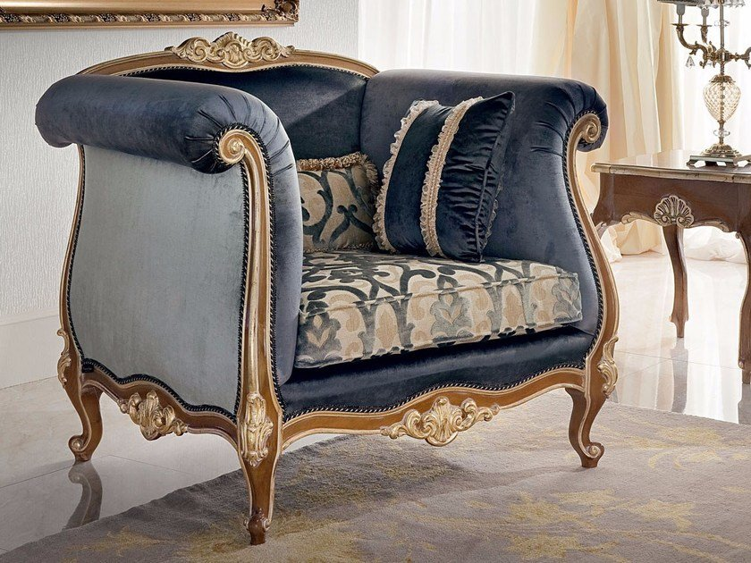 Upholstered fabric armchair with armrests 13417 | Armchair by Modenese Gastone