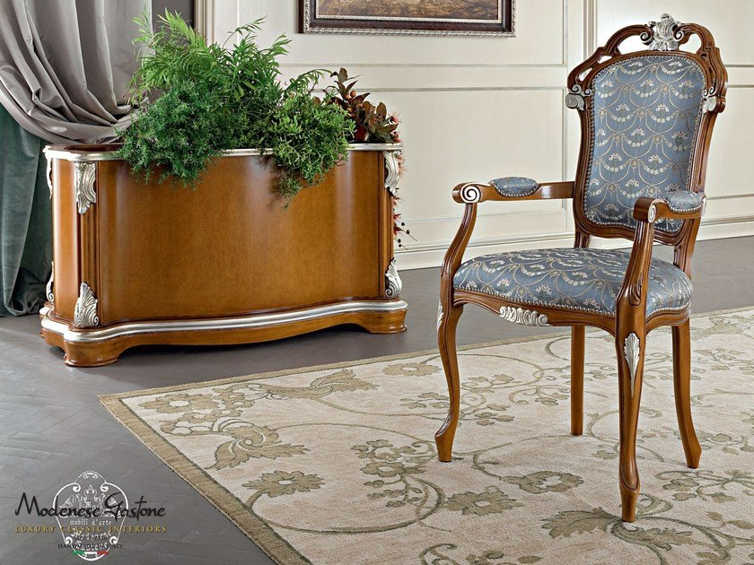 Luxury classical hardwood chair silver leaf applications - Bella Vita Collection - Modenese Gastone