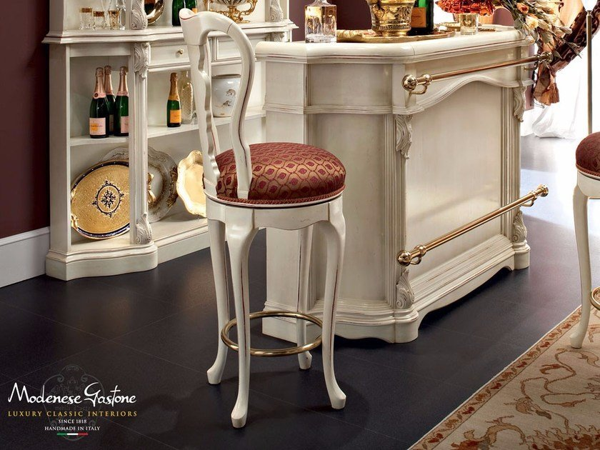 Italian lifestyle padded stool handmade with hardwood - Bella Vita Collection - Modenese Gastone