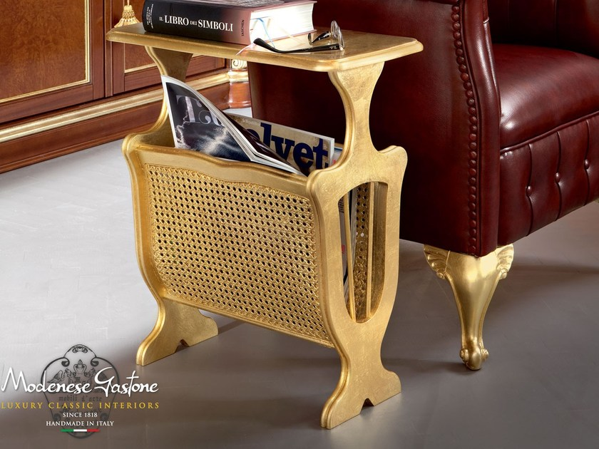 Magazine rack gold leaf Chesterfield style - Bella Vita Collection - Modenese Gastone