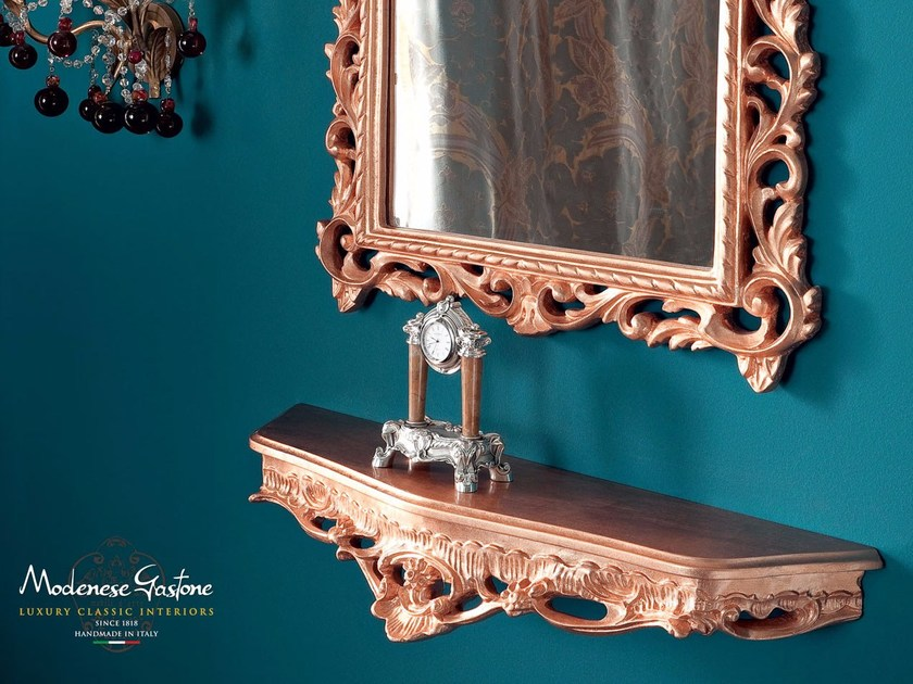 Figured mirror and console with copper leaf applications Bella Vita collection Modenese Gastone