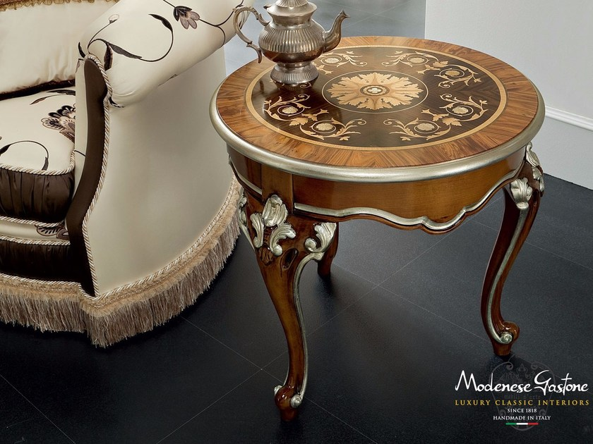 Inlaid and carved coffee table handmade in Italy - Bella Vita Collection - Modenese Gastone