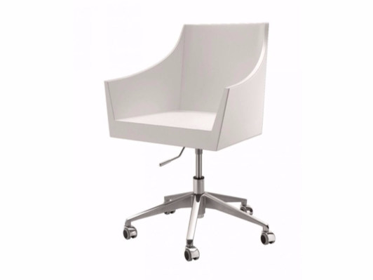 Leather easy chair with 5-spoke base with armrests with casters NOSS | Easy chair with 5-spoke base by Cizeta
