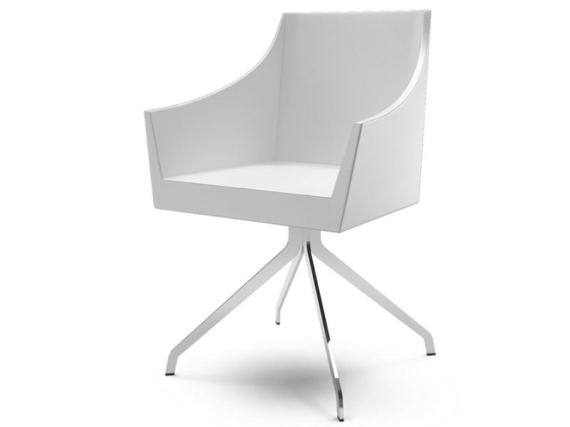 Trestle-based leather easy chair with armrests NOSS | Trestle-based easy chair - CIZETA
